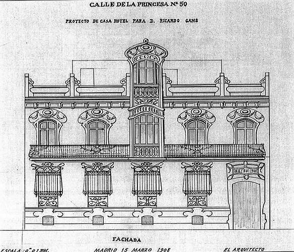 04. Proyecto de casa hotel para Richard Gans. Calle Princesa. Arquitecto Gerardo de la Puente. 1908 r