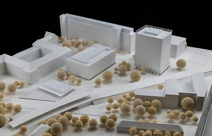 Gewinnerentwurf ROBERTNEUN Architekten_ModellansichtVomBahnhof